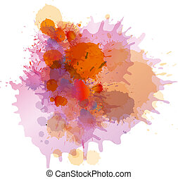Grunge colorful paint splashes on whiite