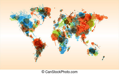 Grunge colorful world map