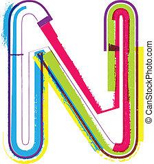 Grunge, colorido, carta,  N