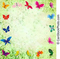 grunge, colorido, marco, mariposas, fondo verde