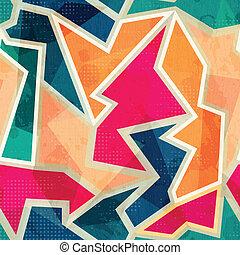 grunge, colorido, padrão, efeito, seamless, geomã©´ricas