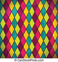 grunge, coloridos, fundo, rhombus