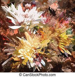 grunge, colorito, crisantemi, macchiato, fondo, floreale