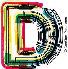 grunge, colorito, lettera, d