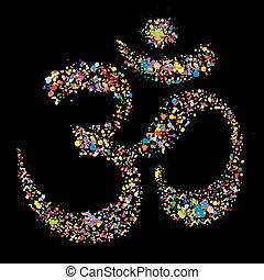 Grunge colourful religious hindu symbol Om, vector illustration
