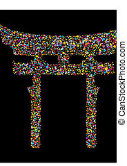 Grunge colourful religious japanese Shinto symbol, vector