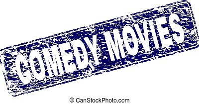 Grunge COMEDY MOVIES Framed Rounded Rectangle Stamp