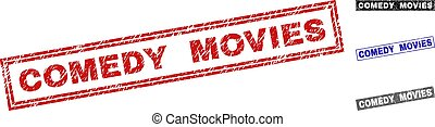 Grunge COMEDY MOVIES Scratched Rectangle Watermarks
