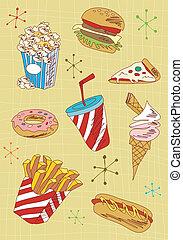 grunge, comida rápida, iconos, conjunto