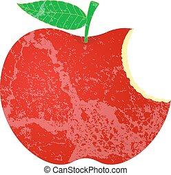 grunge, comido, manzana, forma