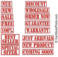 Grunge Commercial Product Rubber Stamp Set