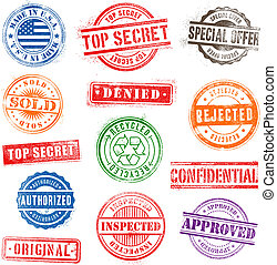 Collection of 13 Hi detail commercial grunge multicolored stamps