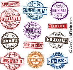 grunge, commerciale, francobolli, set, 2