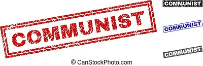 Grunge COMMUNIST Scratched Rectangle Watermarks - Grunge...