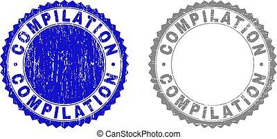 grunge, compilação, arranhado, selo, selos