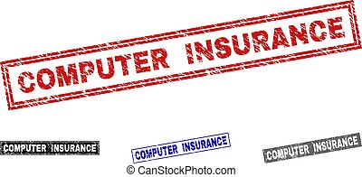 Grunge COMPUTER INSURANCE Scratched Rectangle Stamp Seals