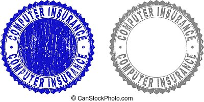 Grunge COMPUTER INSURANCE Textured Stamp Seals