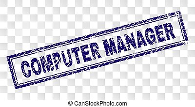 Grunge COMPUTER MANAGER Rectangle Stamp