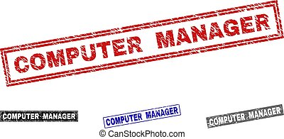 Grunge COMPUTER MANAGER Scratched Rectangle Stamps