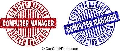 Grunge COMPUTER MANAGER Textured Round Watermarks