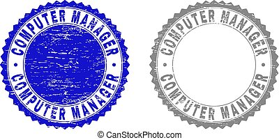 Grunge COMPUTER MANAGER Textured Stamps