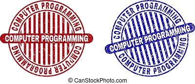 Grunge COMPUTER PROGRAMMING Scratched Round Stamp Seals