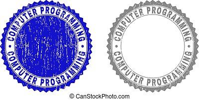 Grunge COMPUTER PROGRAMMING Scratched Stamp Seals