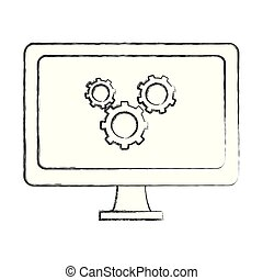 grunge computer technology with gears process industry