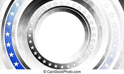Grunge concept black white USA flag with blue stripe video animation
