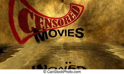 grunge, concept, texte, films, censuré