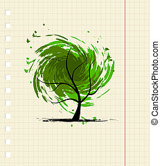 grunge, conception, arbre, ton