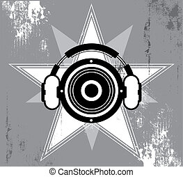 grunge, conception, musique, étoile