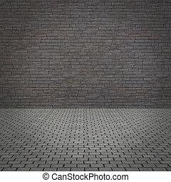 grunge, concrete muur, en, oud, pavement.