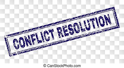 Grunge CONFLICT RESOLUTION Rectangle Stamp