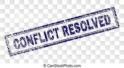 Grunge CONFLICT RESOLVED Rectangle Stamp