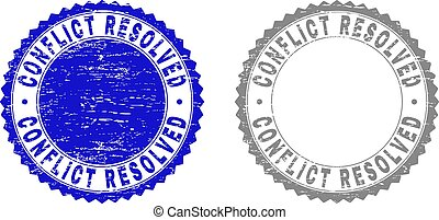 Grunge CONFLICT RESOLVED Textured Stamps
