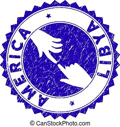 Grunge Connecting America Libya Round Stamp Seal