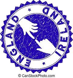 Grunge Connecting England Ireland Round Stamp Seal