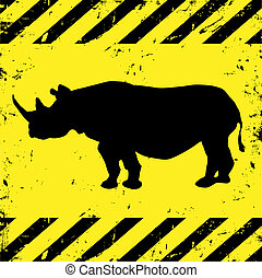 background with rhino - Grunge construction background with ...