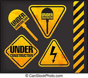 grunge, construction., pod, oświetlenie, łopata, znaki