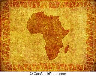 grunge, continente, plano de fondo, africano