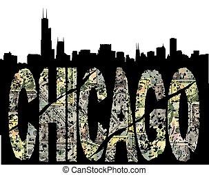 grunge, contorno, dólar, chicago