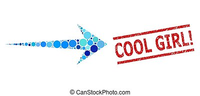 Grunge Cool Girl! Watermark and Arrow Right Collage of Round...