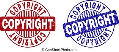 Grunge COPYRIGHT Textured Round Stamp Seals