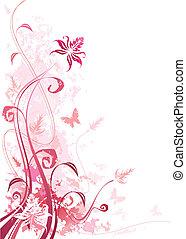 grunge, cor-de-rosa, floral