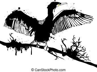 Grunge Cormorant - Illustration of Grunge Black Hop off...