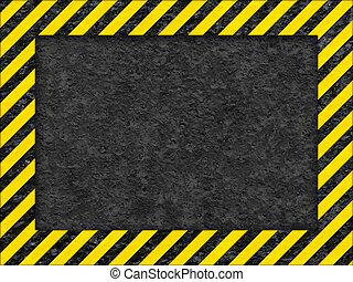 grunge, cornice, giallo, avvertimento, nero, superficie