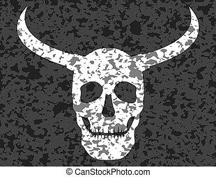 grunge, cornu, crâne humain