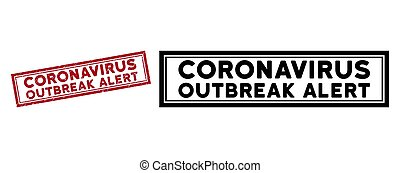 Grunge Coronavirus Outbreak Alert Rectangular Frame Stamp Seal