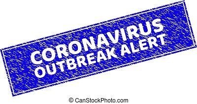 Grunge CORONAVIRUS OUTBREAK ALERT Scratched Rectangle Stamp